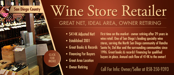 San Diego County Wine Store For Sale By Owner