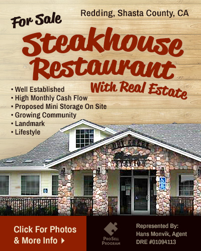 Steakhouse Restaurant For Sale Redding Shasta County California